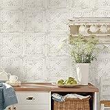 RoomMates RMK11209WP White Tin Tile Metallic Accent Peel and Stick Wallpaper