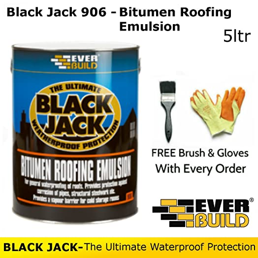 Black Jack 906 | Bitumen Roofing Emulsion | By Everbuild | FREE Brush And  Gloves |