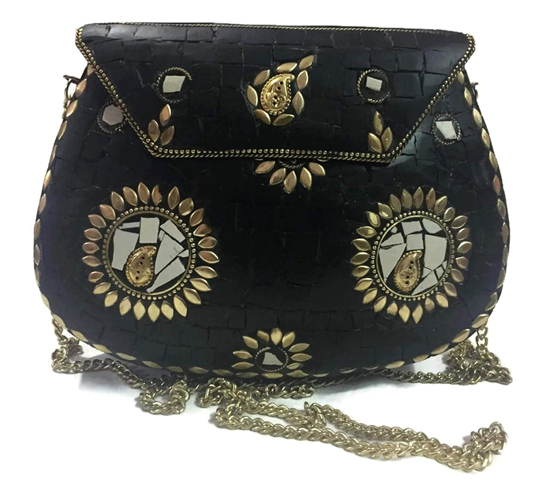 Gannu Bolso de mosaico de piedra negro, clutch étnico, bolsos de la honda para las mujeres en venta, bolso de metal, billetera étnica tribal, ...