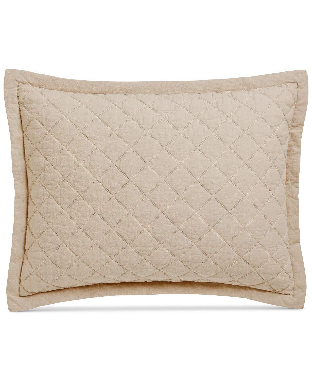 Martha Stewart $60 Beige BROADSTITCH DIAMOND Standard Pillow Sham Qt 1  D05