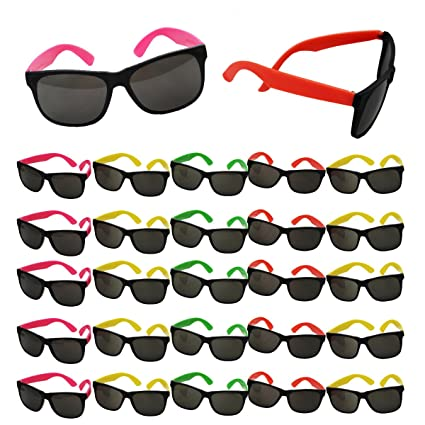 ec703157e8f1 Neon Sunglasses Party Favors - Set of 25 Plastic Neon Shades for Kids and  Adults -