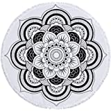 Microfiber Round Beach Towel Tapestry Bohemian Style Geometry Mandala Tassels Home Decoration 150 cm X 150CM