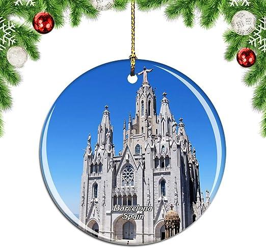 Weekino España Tibidabo Moutain Barcelona Decoración de Navidad Árbol de Navidad Adorno Colgante Ciudad Viaje Colección de Recuerdos Porcelana 2.85 Pulgadas: Amazon.es: Hogar