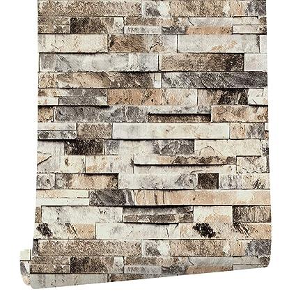 Loaizh Pvc Vintage Faux Brick Stone Vinyl Wallpaper Wallcovering 3d