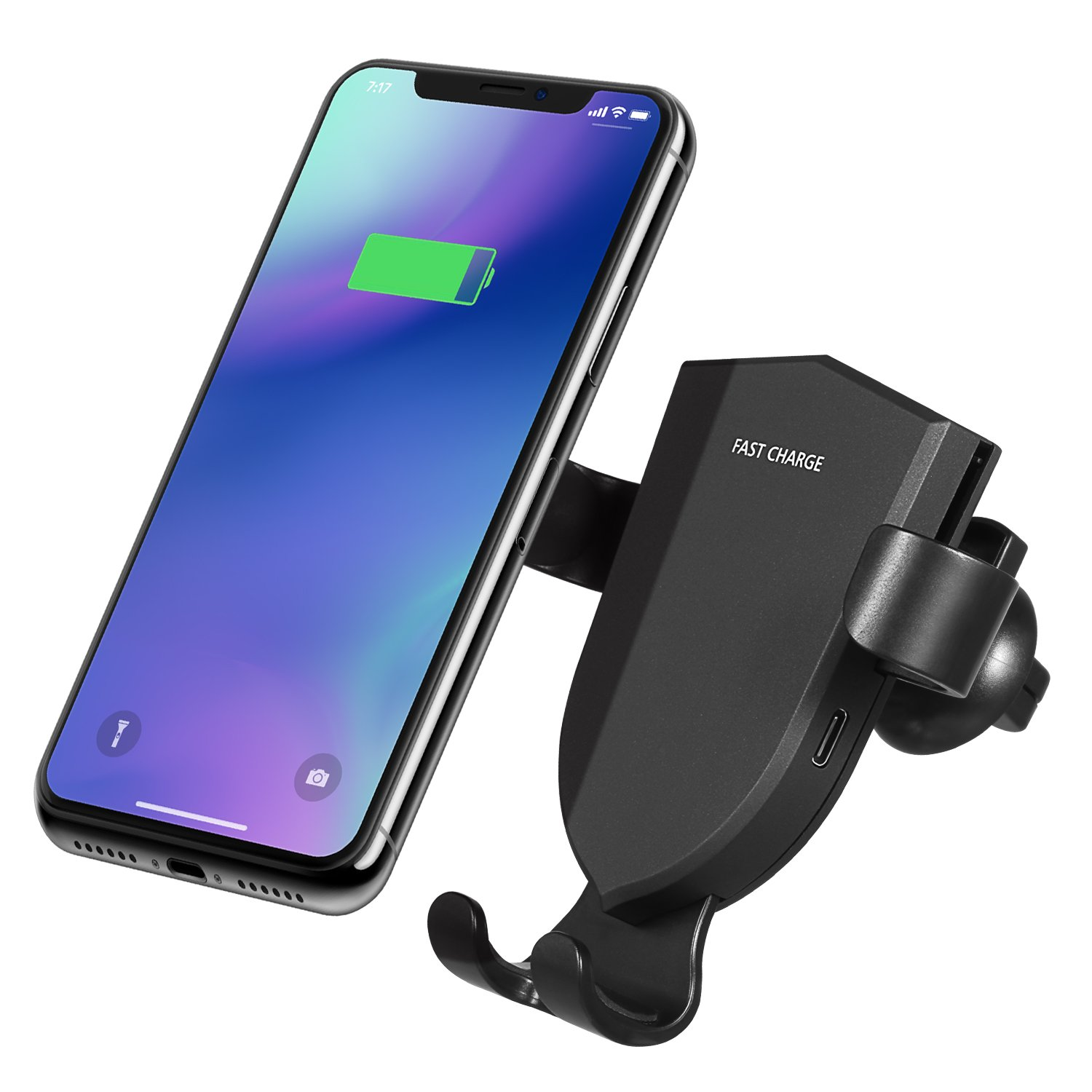 Standard Charge for iPhone Xs Max//X//XR//8 Plus//8 Air Vent Qi Car Phone Holder Cradle Fast Charge for Samsung Galaxy S9//S9 Plus//Note 8//9//S8//S8 Plus//S7//S7 Edge Lerual Wireless Car Charger Mount