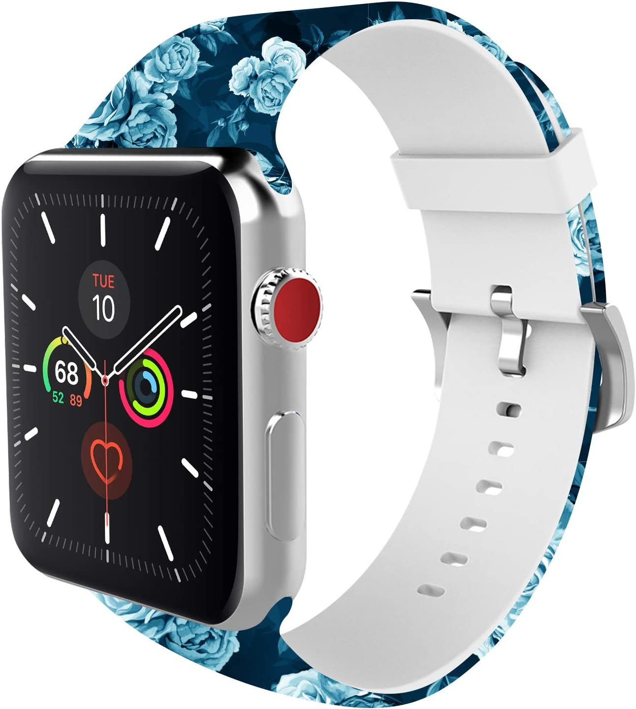 BMBEAR Sports Band Floral Bands Compatible with Apple Watch Band 38mm 40mm Soft Silicone Fadeless Pattern Printed Replacement Sport Band for iWacth Series 6 5 4 3 2 1 White Blue Rose