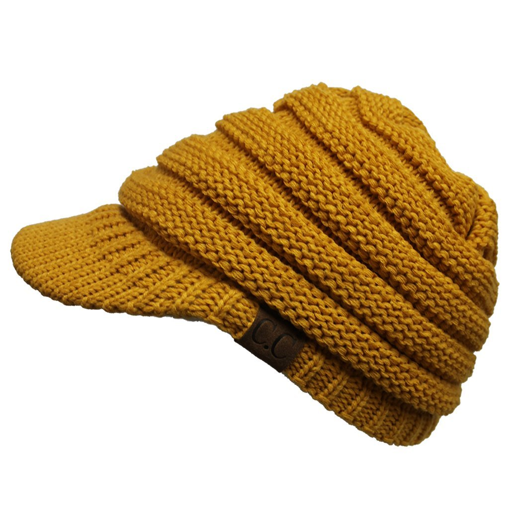 Hatsandscarf CC Exclusives Women's Ribbed Knit Hat with Brim (YJ-131) (Mustard)