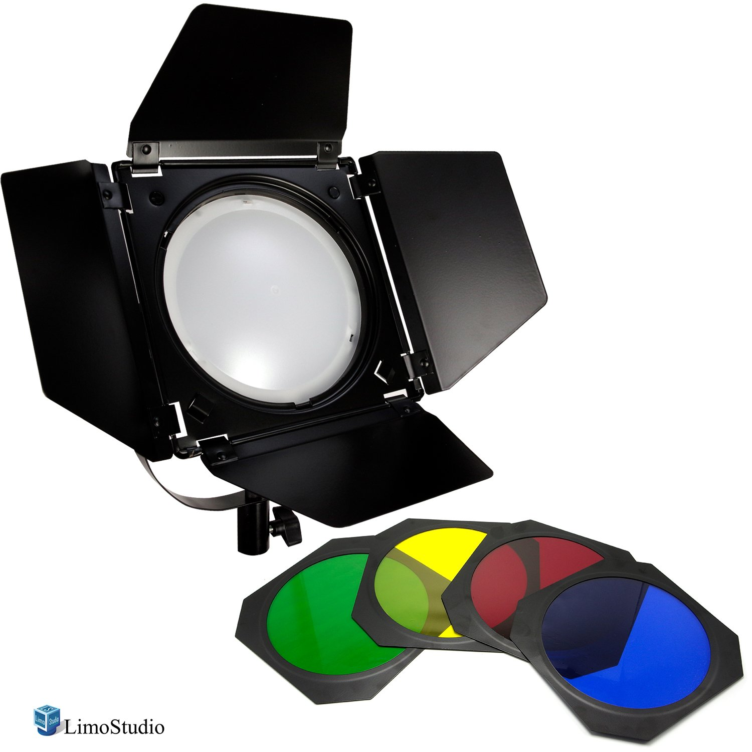 LimoStudio LED Barn Door Lighting Set, 4 Color Gel Filters for Professional Photography Lighting, Photography Studio, AGG2539