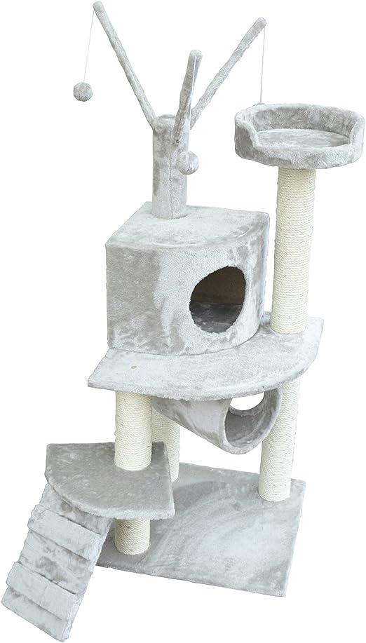 PawHut Árbol para Gatos Rascador 120cm con Caseta Plataformas Escalera Bolas de Juego Tablero de Madera Cubierto de Felpa Gris: Amazon.es: Jardín