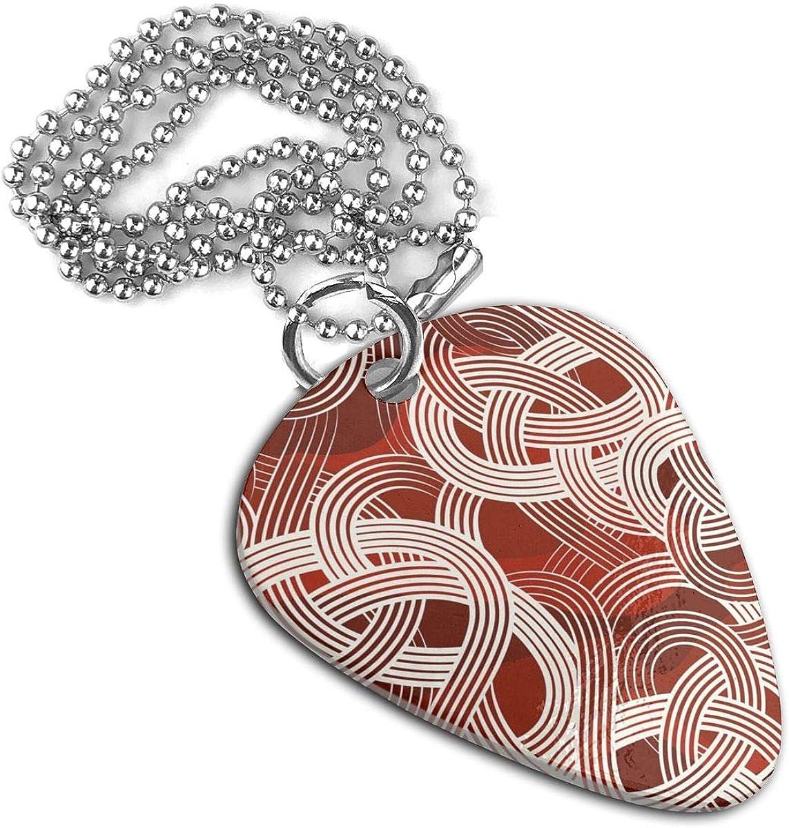 Noodles Pattern Guitar Pick Necklace Pendant Pet Card Keychain