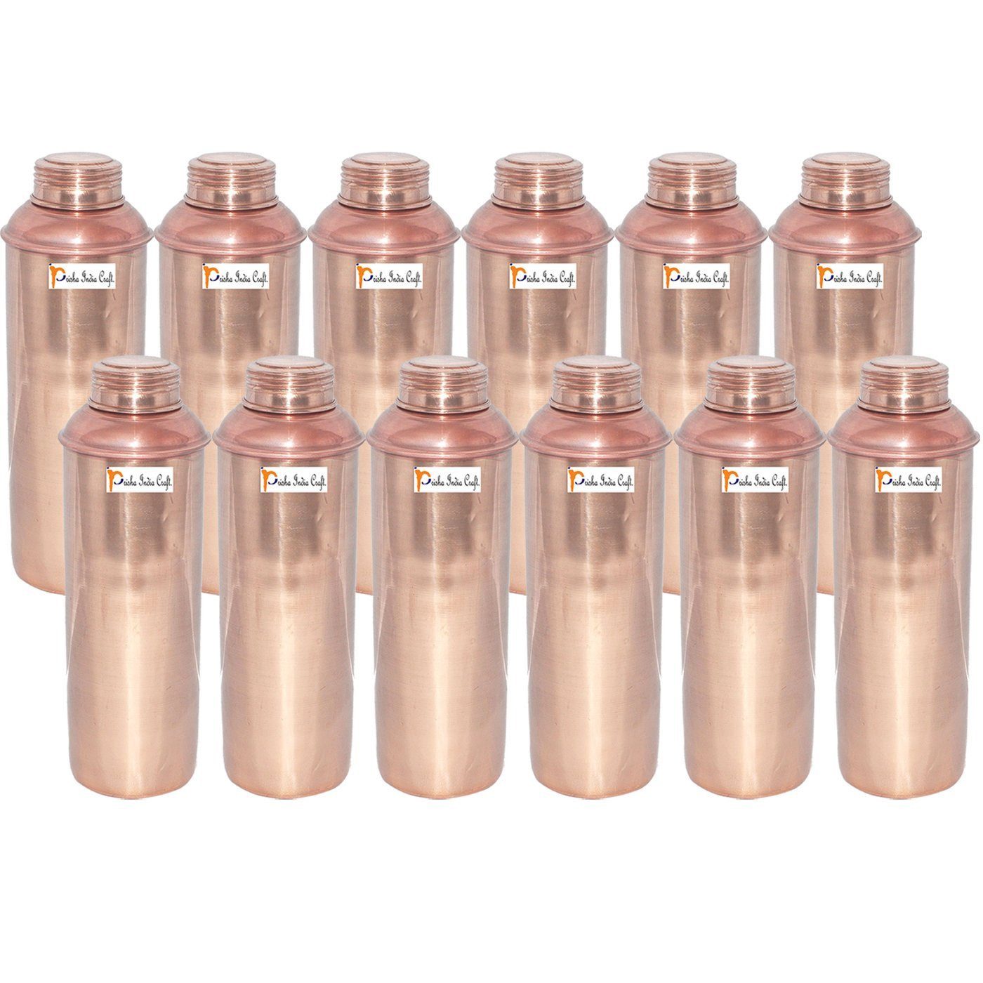 750 ML / 25 oz - Set of 12 - Prisha India Craft ® CHRISTMAS GIFT Pure Copper Water Bottle Pitcher for Ayurvedic Health Benefits - Handmade Copper Water Bottles