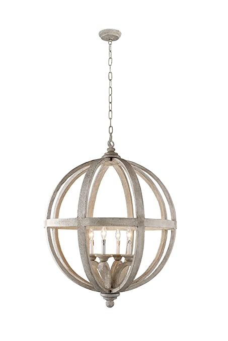 Y Decor Lz3225 4 Modern Transitional Traditional Light Wood Orb Chandelier By