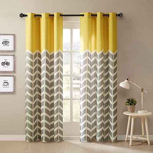 Intelligent Design Yellow in Grey Chevron Printed Curtains for Living Room or Bedroom, Modern Contemporary Grommet Room Darkening Curtains, 42×84, 2-panel pack