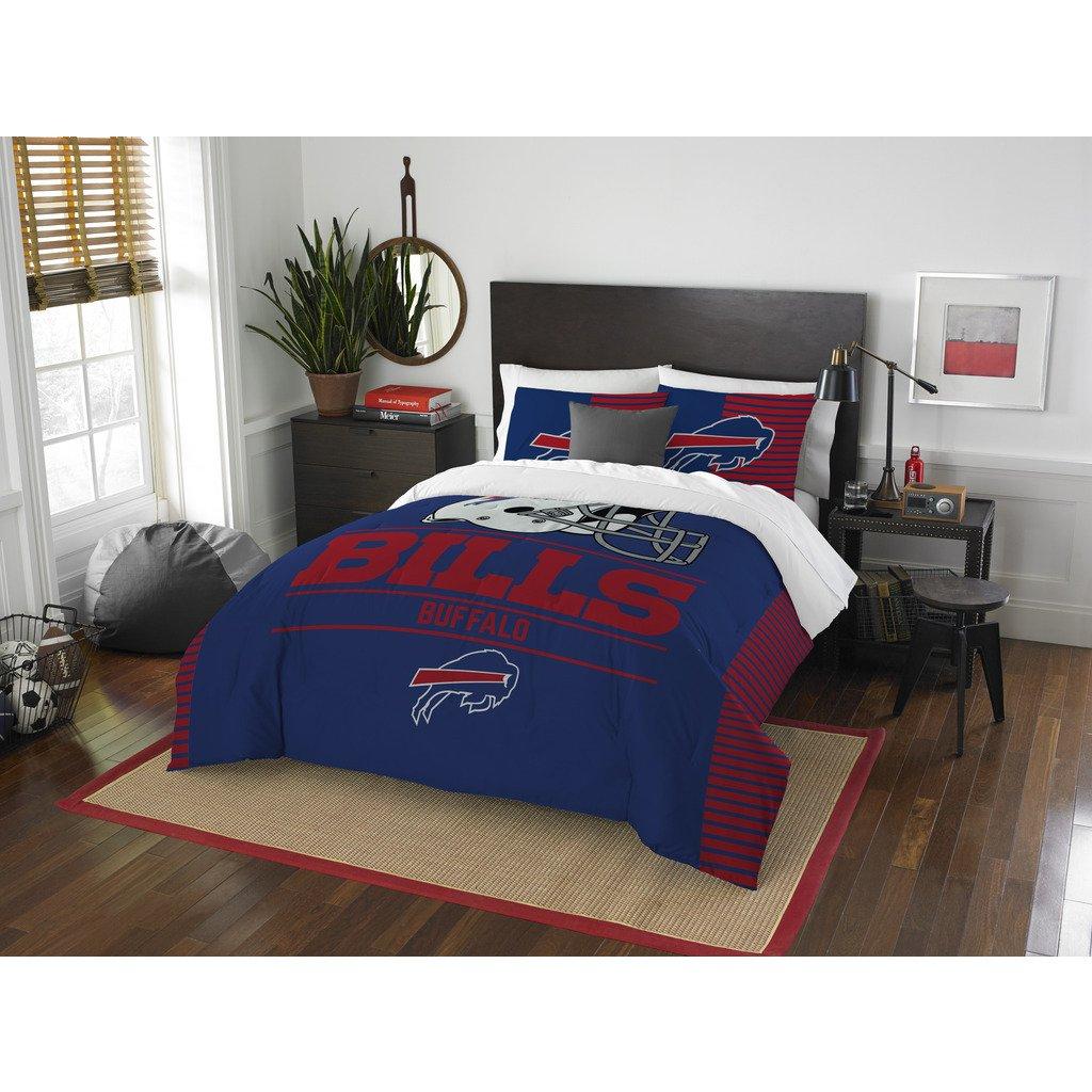 Buffalo Bills Comforter Set Bedding Shams NFL 3 Piece Full-Queen Size 1 Comforter 2 Shams Football Linen Applique Bedroom Decor Imported