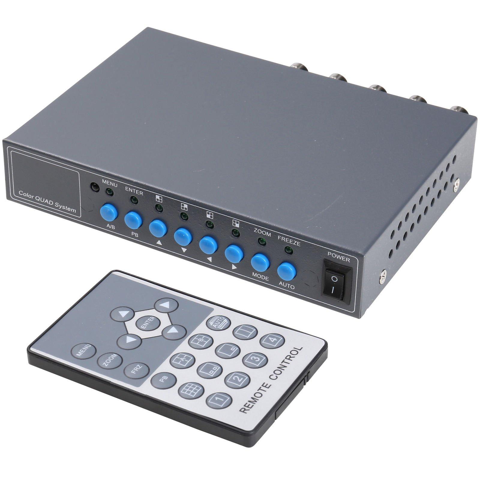 UHPPOTE 4CH Color QUAD System Video Splitter CCTV Camera Processor with Remote Control