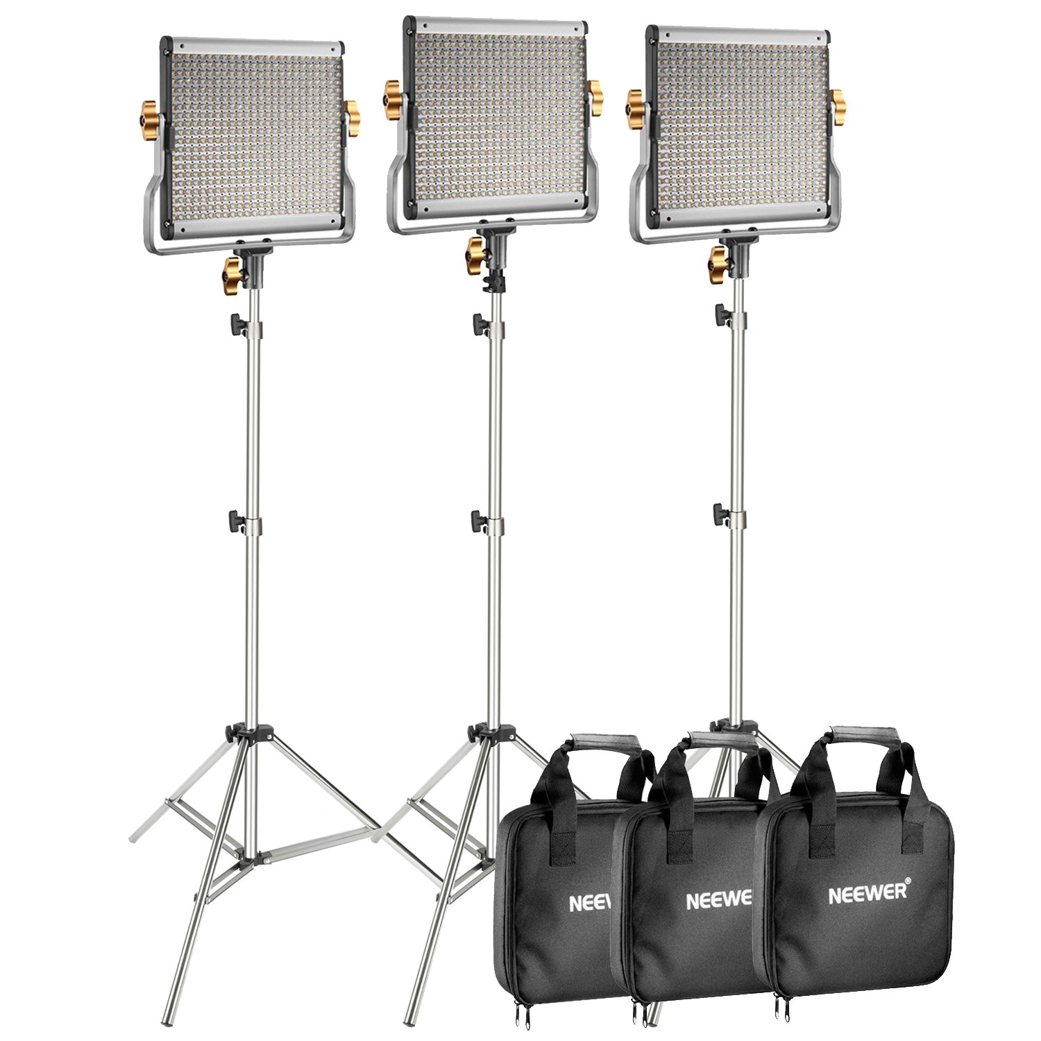 Neewer 3-Pack 480 LED Video Light with 78.7-Inch Stainless Steel Light Stand Kit: Dimmable Bi-Color LED Panel with U Bracket (3200-5600K, CRI 96+) for Photo Studio Portrait, YouTube Video Photography
