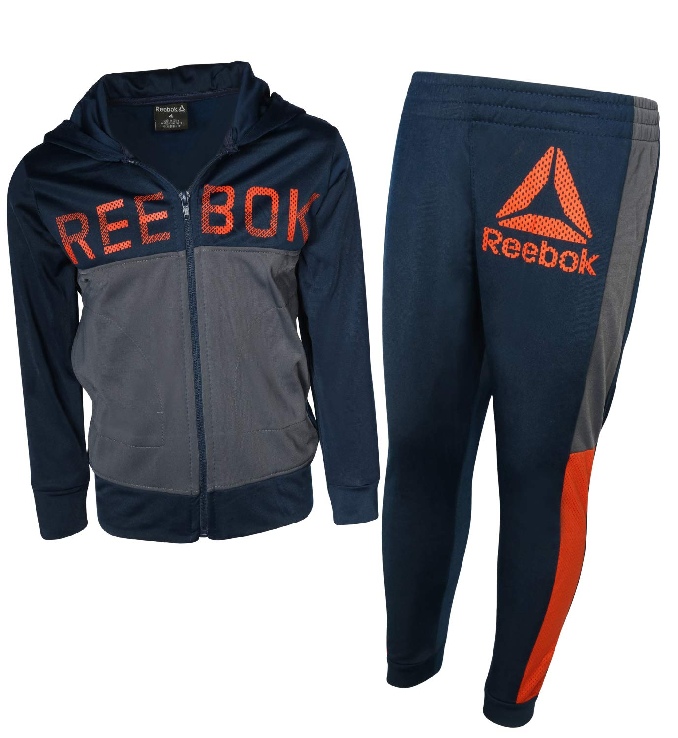 Reebok Boys 2-Piece Tricot Performance Zip Hoodie and Jogger Tracksuit Set, Bright Navy, Size 5'