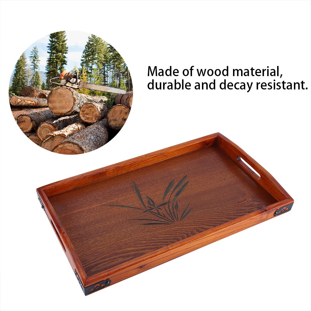 Coffee Shops Solid Wood Tray,Acogedor Brown Serving Tray with Handles,Hollowed-Out Cherry Blossoms Tea Tray,Non-Slip Tray for Hotels Home,17.72 x 10.63x 1.18inch Restaurants Canteens