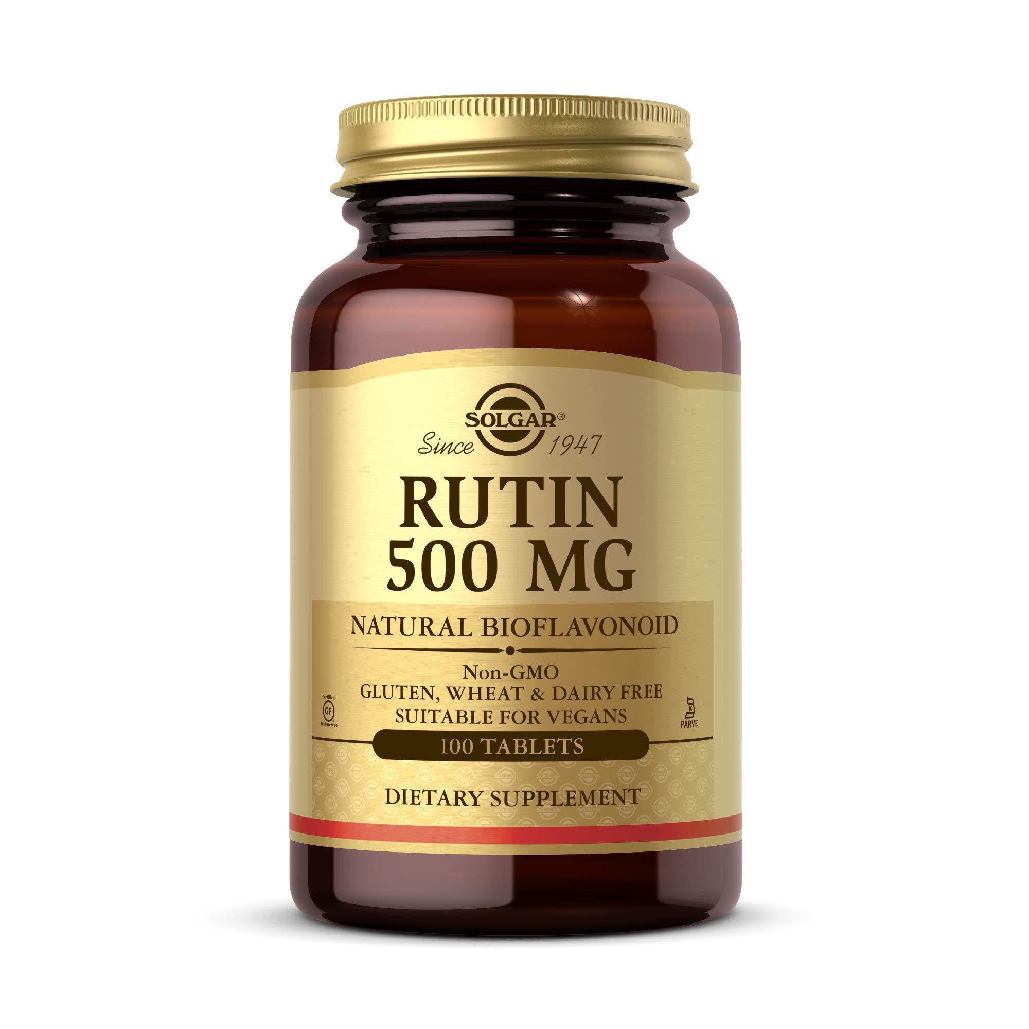 Solgar Rutin 500 mg, 100 Tablets - Antioxidant - Natural Bioflavonoid - Vegan, Gluten Free, Dairy Free, Kosher - 100 Servings