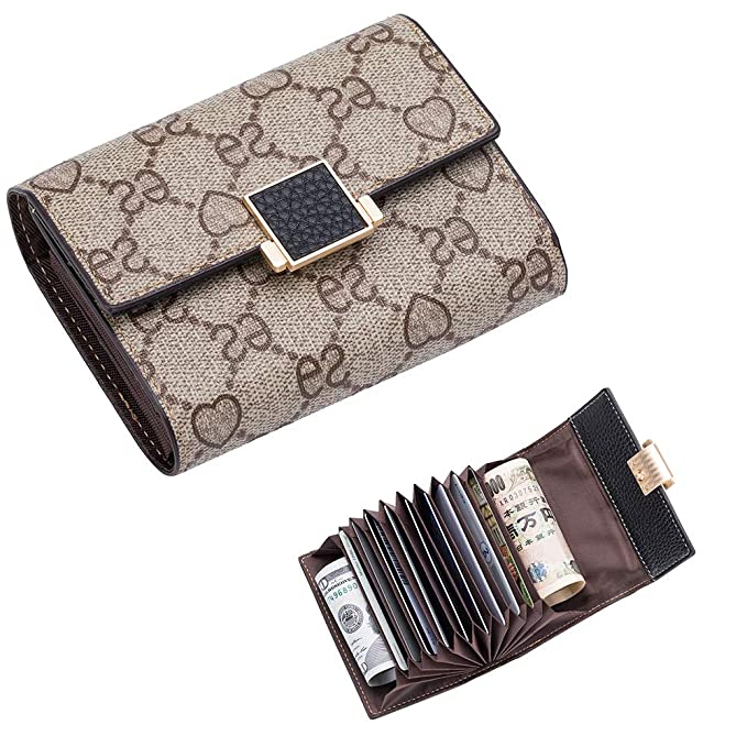 f9c3778f31fd LeDuruo Women Small Accordion Credit Card Holder Mini Wallet Coin Case  Leather Purse