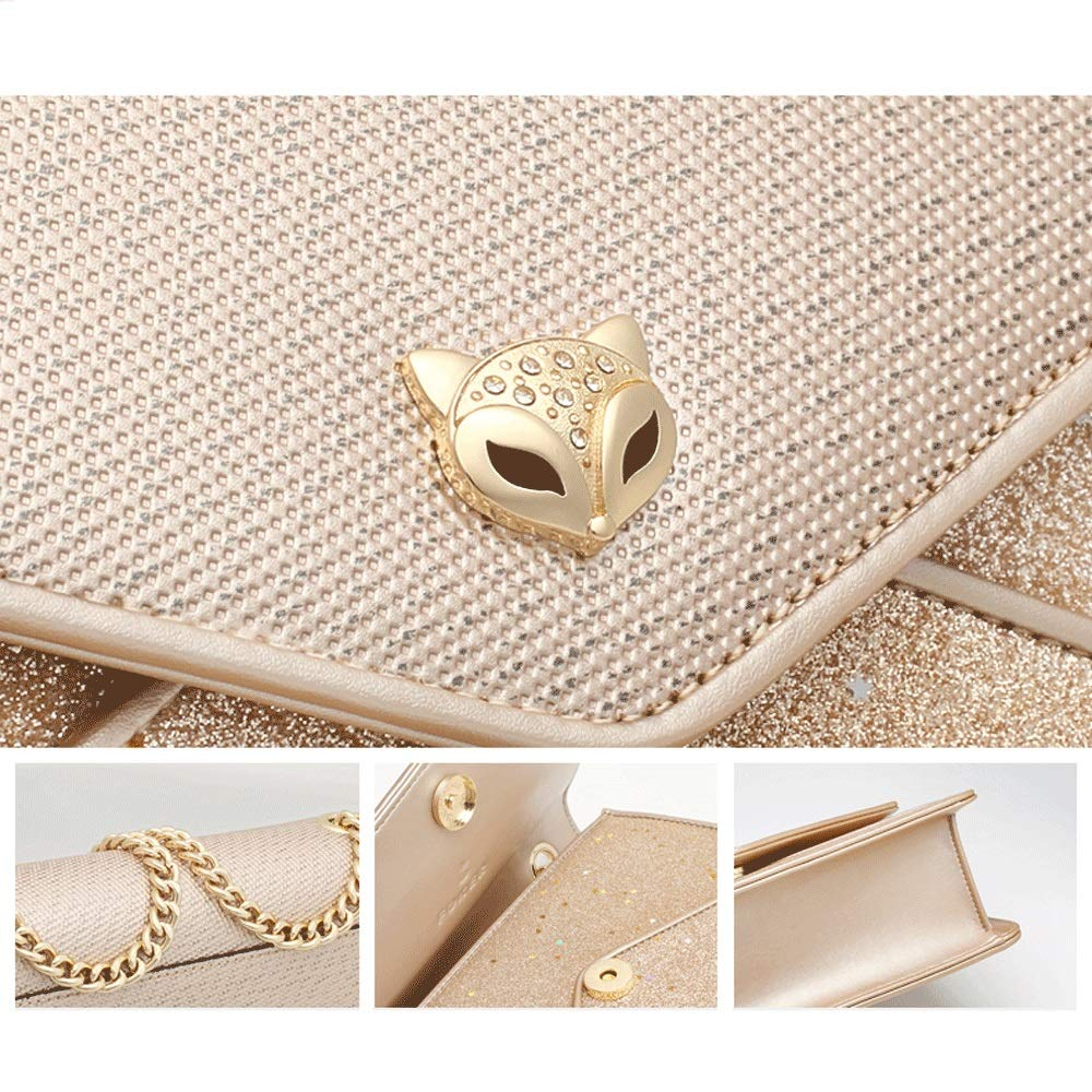 Simple Mini Crossbody Stitching Chain Shoulder Bag Wild Star Sequin Girl Casual Small Square Bag Color : Gold ZJ- Shoulder Bag Shoulder Bag Faux Leather 2 Colors Optional /&/&