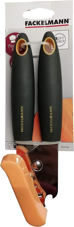 Fackelmann Soft Abrelatas Manual lata conserva 19cm,1ud. Abrir latas Abrelatas 2 mangos elast/ómero gris
