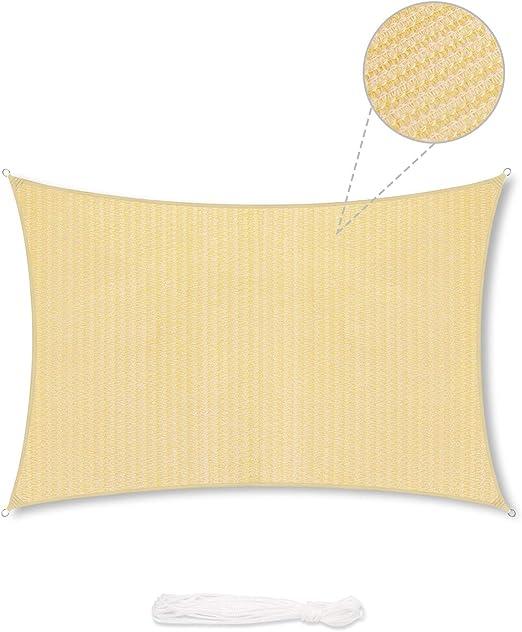 Sekey Toldo Vela de Sombra Rectangular HDPE Protección Rayos UV Resistente Permeable Transpirable para Patio, Exteriores, Jardín, con Cuerda Libre y Kit de Montaje, 3×5m Beige: Amazon.es: Jardín
