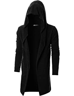 GIVON Mens Long Sleeve Draped Lightweight Open Front Longline Hooded  Cardigan e1a5c5093