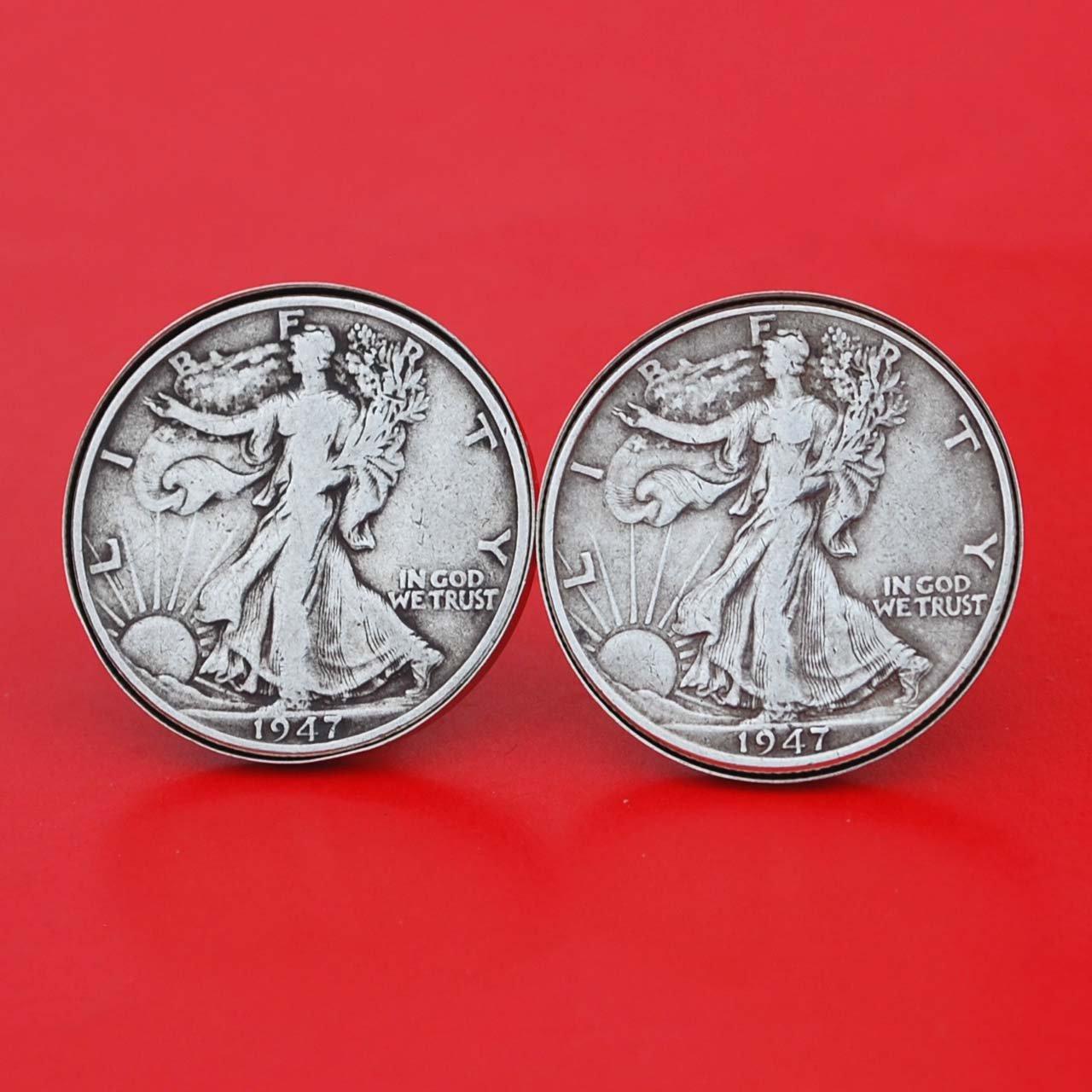 US 1947 Walking Liberty Half Dollar 90% Silver Coin Silver Cufflinks NEW