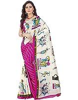 e-VASTRAM Womens Bhagalpuri Latest Half Half Printed Saree (SHER_PINK)