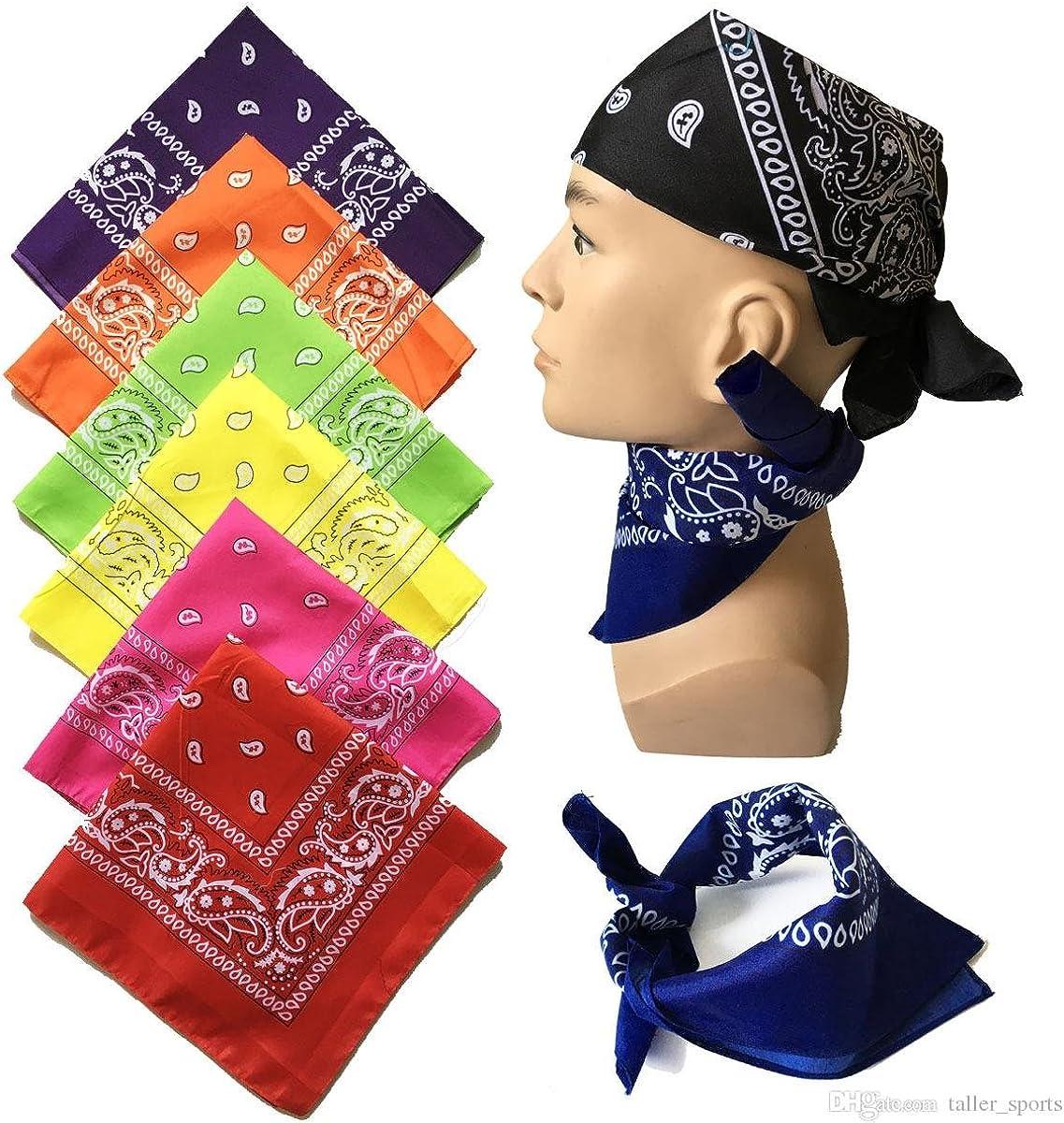 Confezione da 12 Cotton Bandana Fascia per capelli Head Wear Fascia Bandana Sciarpa UK