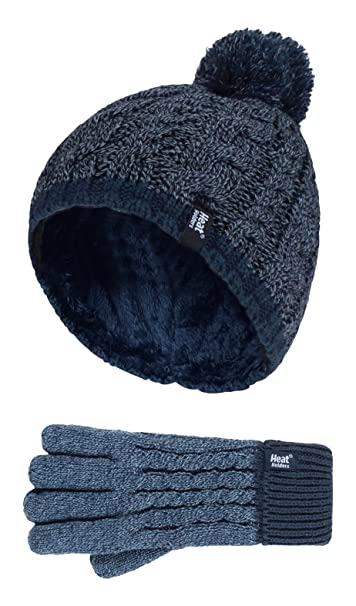 4af1bb2f185 Amazon.com  Heat Holders - Kids Boys Knitted Winter Pom Pom Cold Weather Hat  and Gloves Set (7-10 Years