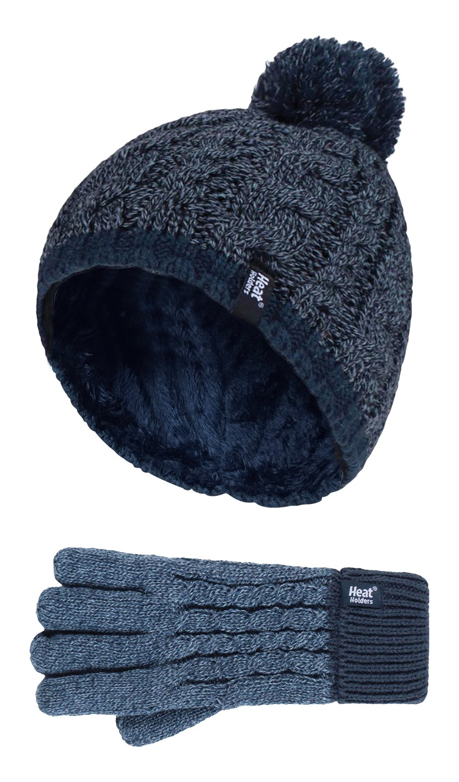 Heat Holders - Kids Boys Knitted Winter Pom Pom Cold Weather Hat and Gloves Set (7-10 Years, DN1P7)