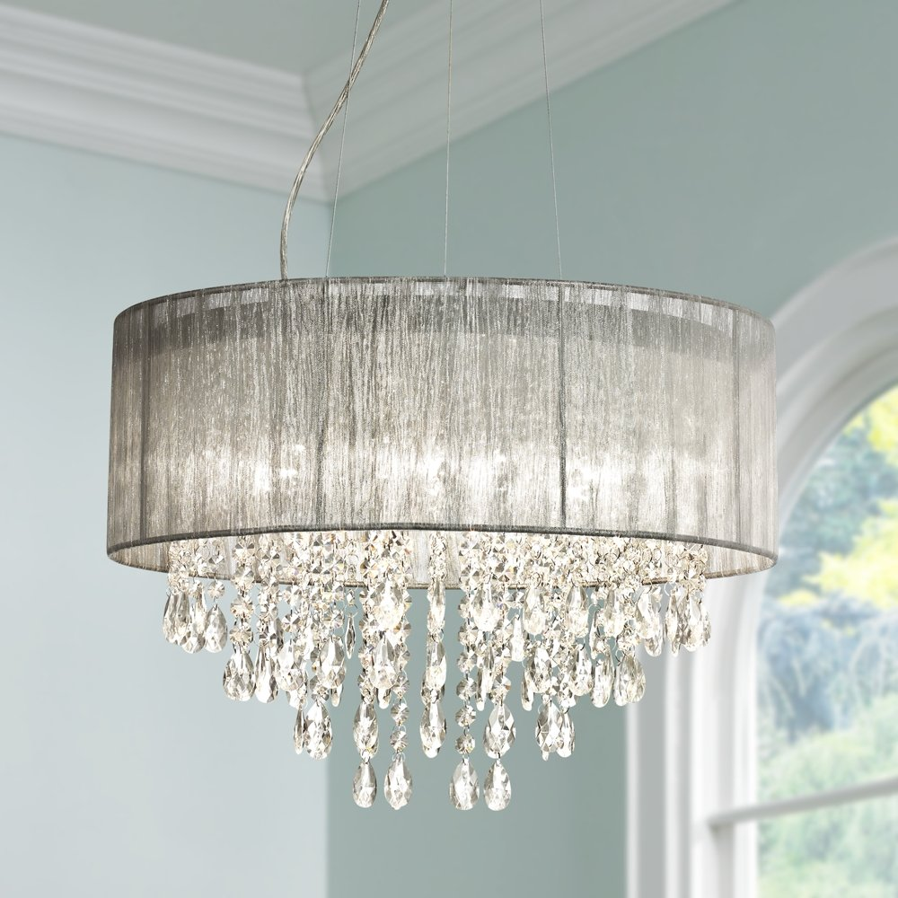 Possini euro jolie 20w silver fabric crystal chandelier amazon mozeypictures Gallery