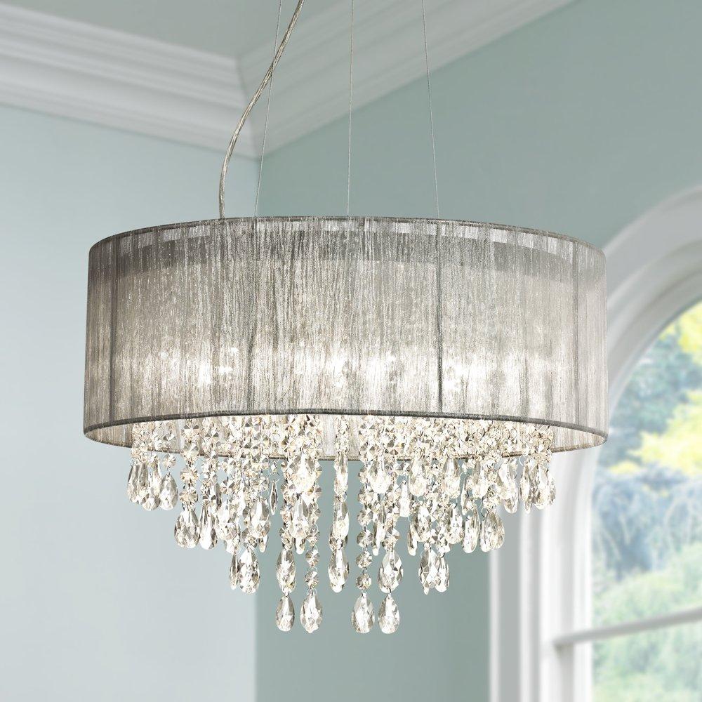 Possini euro jolie 20w silver fabric crystal chandelier amazon arubaitofo Gallery