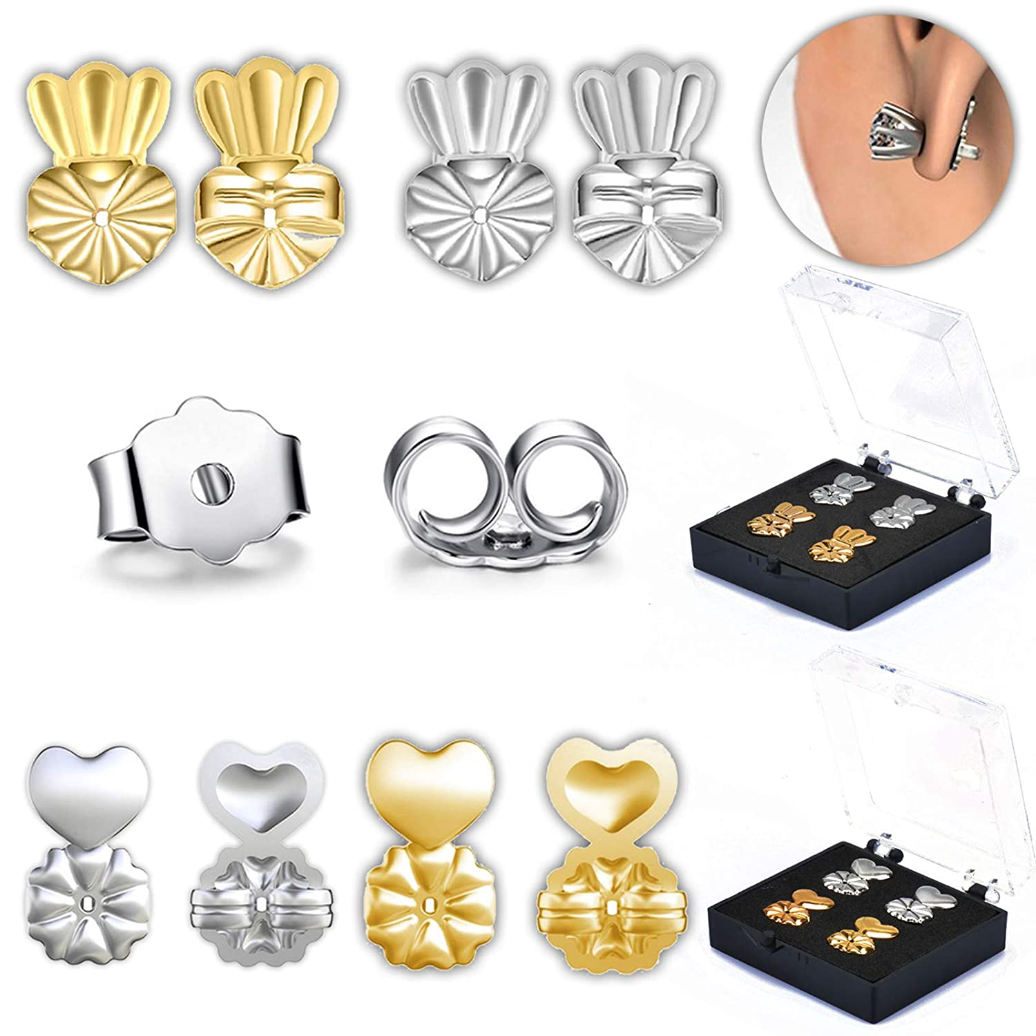 FunSponsor Original Magic Earring Lifters 3 Pairs of Adjustable Earring Lifts (2 Pair of Sterling Silver and 2 Pair of 18K Gold Plated) + Bonus 1 Pair Sterling Earring Backs