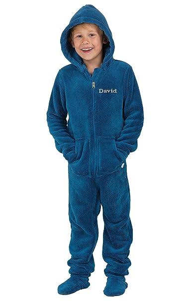 3035df78e0 PajamaGram Big Boys Onesie Pajamas - Fleece Hoodie Footie Pajamas Kids