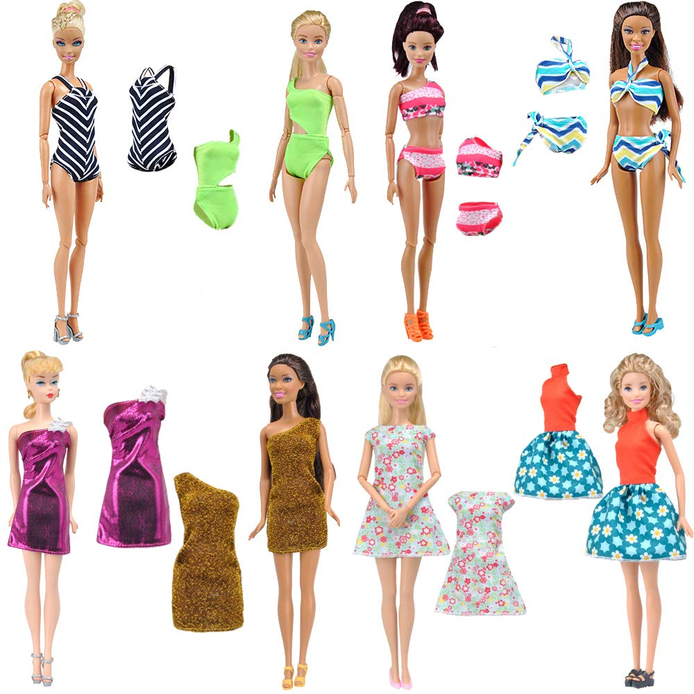 E-TING Lot 14 items = Fashion Dress Swimsuit Casual Outfit Suit Couple Dating Clothing Accessories Shoes for Barbie Ken Dolls Random Style (Casual Wear Clothes + Dress + Swimwear)(Dolls Not Included)