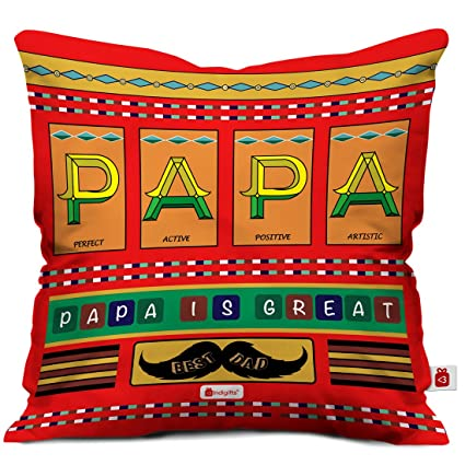 Indigifts Papa Gifts Birthday Is Great Beautiful Cushion Cover 12x12 Inches With Filler Red