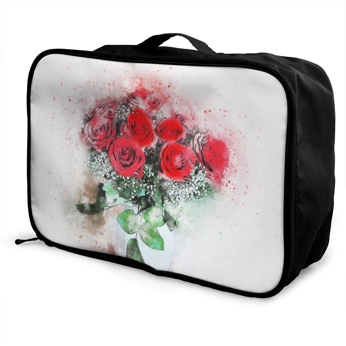 Creative Art Flowers Girl Travel Lightweight Waterproof Foldable Storage Carry Luggage Large Capacity Portable Luggage Bag Duffel Bag