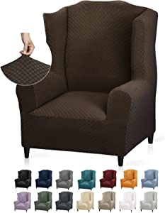 YEMYHOM 1 Piece Stretch Wingback Chair Slipcover Latest Jacquard Design Wing Chair Cover Non Slip Furniture Protector with Foam Rods for Living Room (Wing Chair, Dark Coffee)