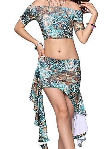 Ropa de baile Traje de danza del vientre Set Off Small Top & Seda de la leche Irregular Edges falda