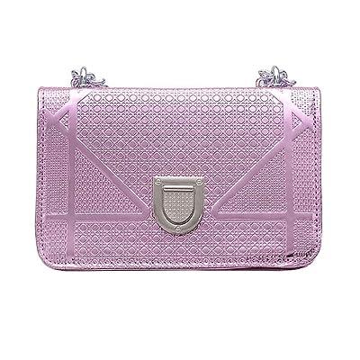 Korowa Frauen-Mädchen-Schild Lock-Einzel-Schulter-Beutel-Riemen-Kette Solid Color PU Umhängetasche Messenger Bags Handtasche helles Lila