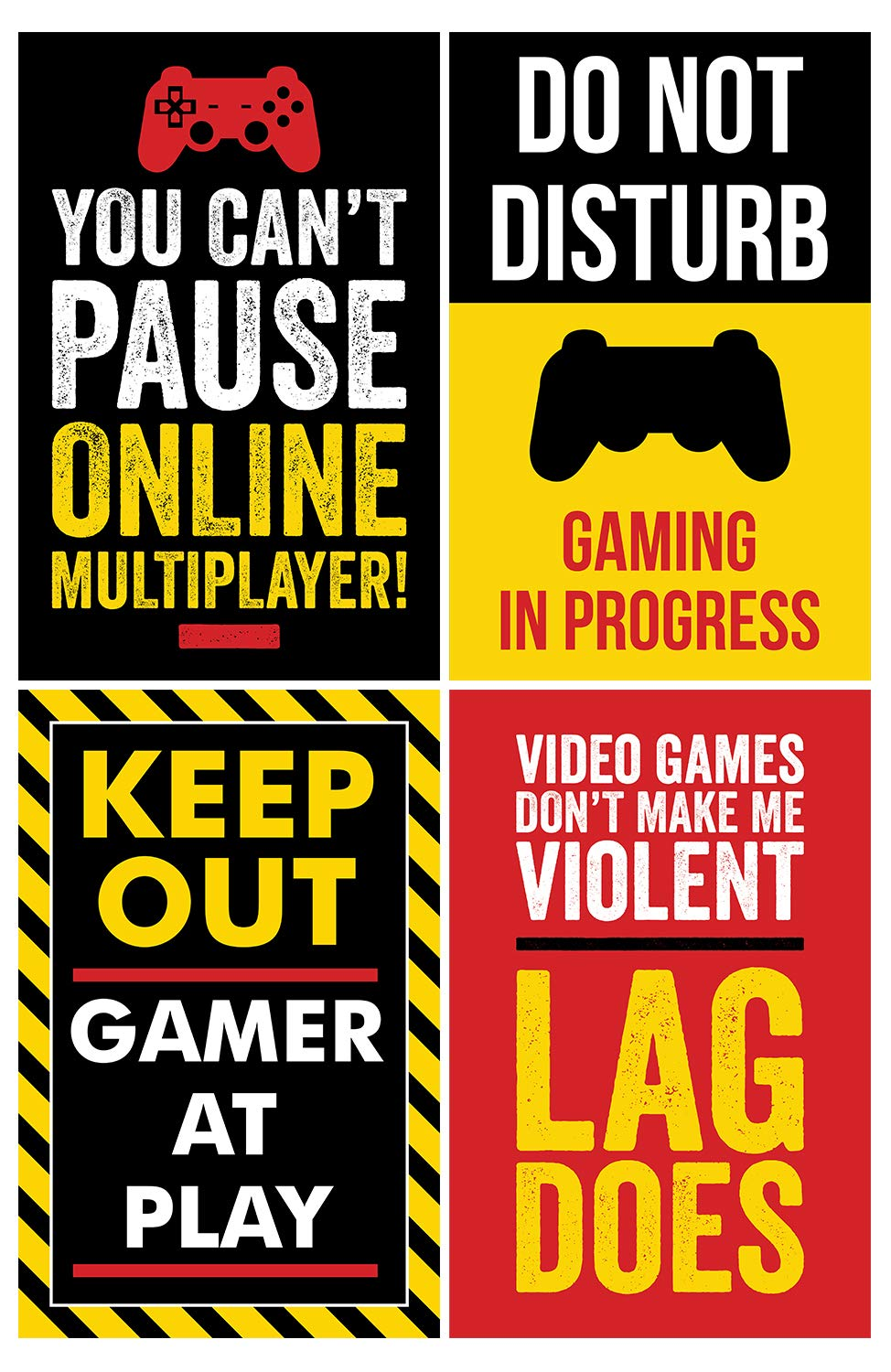 Gaming Posters, Set of 4, 11x17 Inches, Video Game Artwork, Gamer Wall Art,  Boys Room Kids Print Color