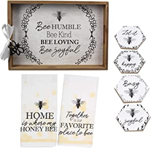 Honey Bee Kitchen Decor Bee Kitchen Accessories Includes Bumble Bee Coasters, Bee Tray, Honey Bee Dish Towels Set