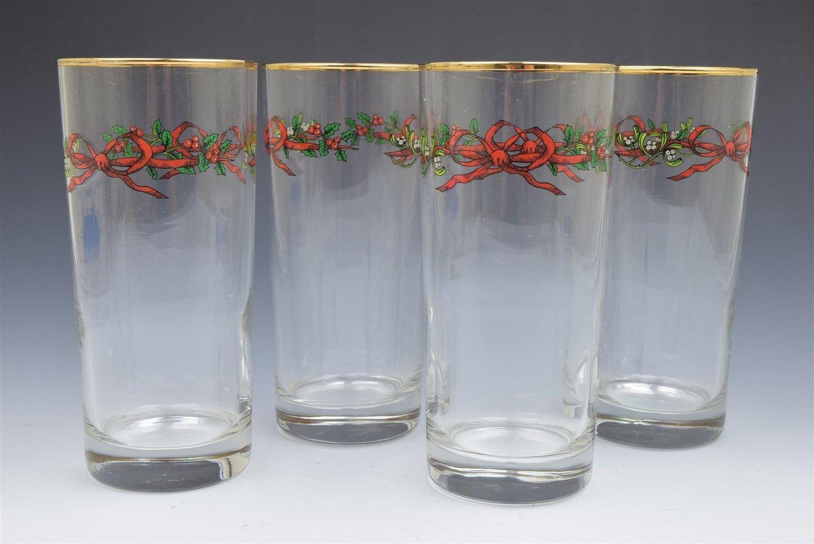 Royal Worcester Holly Ribbons Highball Glass- Set of 4 NEW NIB