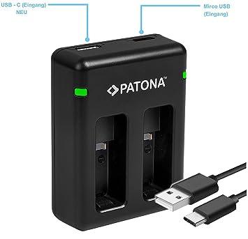 Patona USB Dual cargador para batería GoPro Hero5 Hero6 Hero7 Hero 5 Hero 6 Hero 7 black AABAT-001
