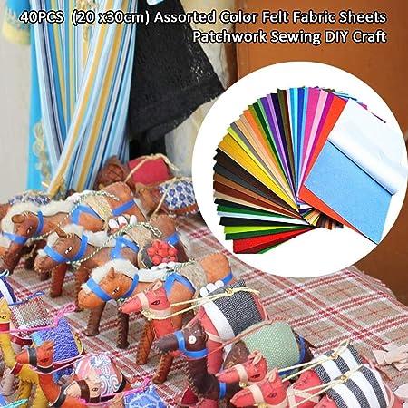blendivt Fieltro plástico 40 Colores Bricolaje Fieltro de Colores ...
