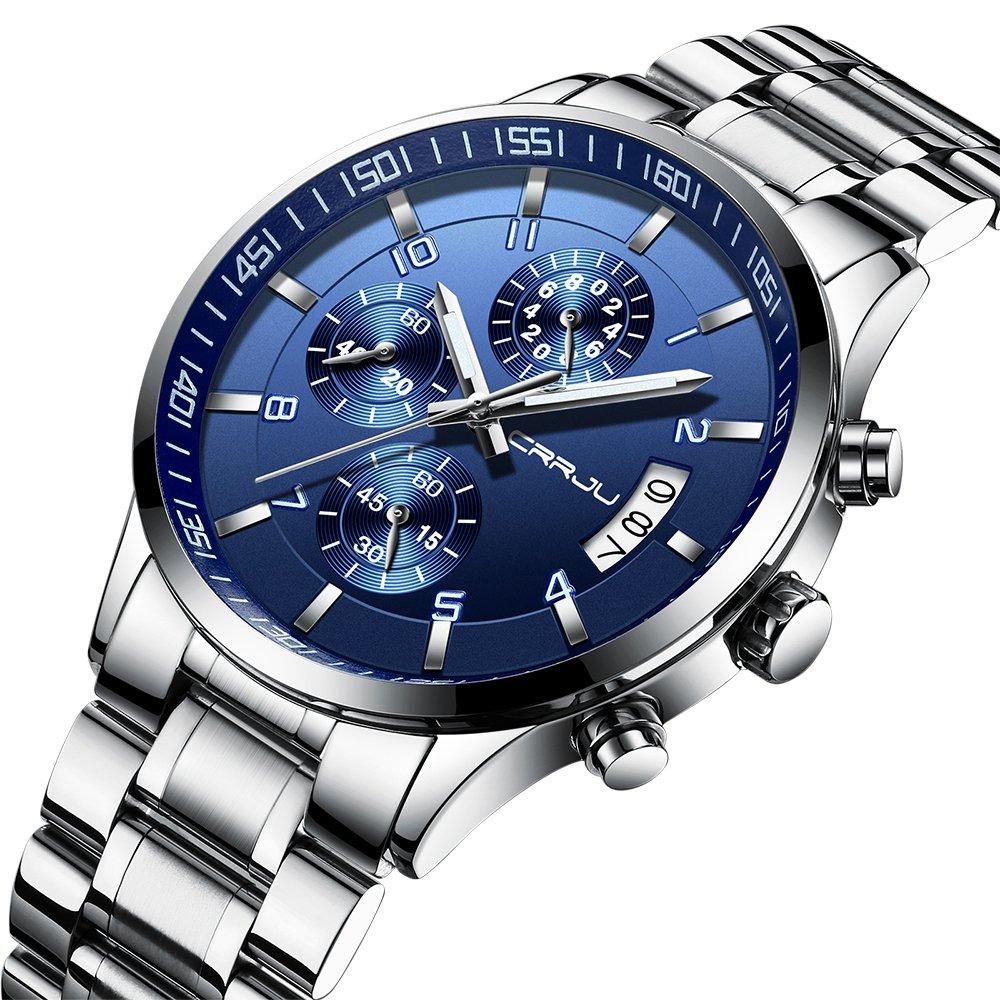 Men's Fashion Casual Quartz Watch Business Watches Men Stainless Steel Chronograph Wristwatch CJ-2214BU