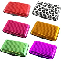 Pack of 6, The Elixir Credit Card Holder RFID Blocking Thin Aluminum Silicone Case Wallet